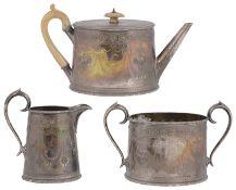 A Victorian silver presentation three piece tea service