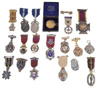 An interesting collection of mostly silver and enamel Masonic jewels