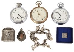 A mixed lot to include silver items pocket watches