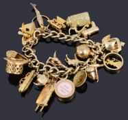 A 9ct gold charm bracelet with padlock and charms
