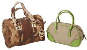 Prada green leather and canvas mini bowling handbag; Michael Kors camouflage tan leather handbag