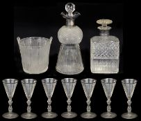 A late Victorian silver mounted thistle shaped decanter and other glass