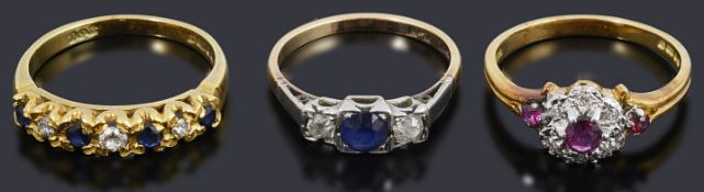 A 18ct gold sapphire and diamond half eternity ring, others