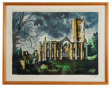 John Piper (British 1903-1992) Fountain Abbey, Yorkshire, screenprint in colours