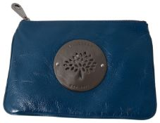 A Mulberry teal leather clutch pouch