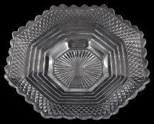 An early 19th century Irish Waterford cut glass octagonal dish c.1825