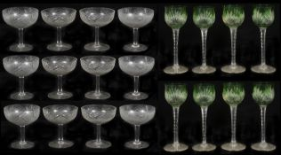Set of early 20th c cut glass champagne coupes; set of Bohemian green flashed cut glass hock glasses