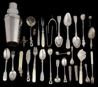 A mixed lot of 19th century and later silver