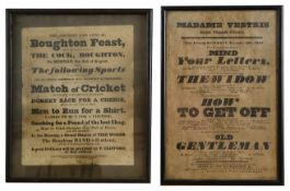 Two early 19th century century humorous printed advertisement posters c.1830