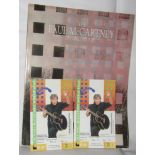 Two Paul McCartney ticket stubs for Wembley Arena 1990 and Tour Programme