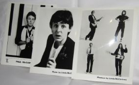 Six Paul McCartney 8 x 10 promotional photographs taken by Linda McCartney