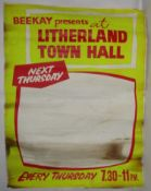 Litherland Town Hall original blank concert poster. The Beatles played this venue between December