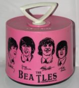 The Beatles Disk-Go Case Pink plastic record carrying case, manufactured by Charter Industries
