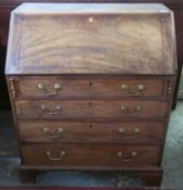 19th century fall front writing bureau, with fitted interior. Approx. H 108cm x W 91cm x D 55cm