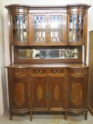 Early 20th century inlaid mahogany sideboard, fitted with glazed display section above, in the