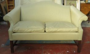 Early 20th century mahogany upholstered two seater settee, on stretched supports. Approx. 89cm H x
