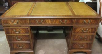 Mid 20th century mahogany pedestal eight drawer writing desk, fitted with green leather effect