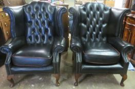 Pair of 20th century upholstered Chesterfield style button back armchairs. Approx. 110cm High