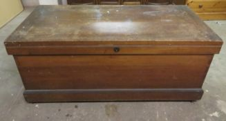 Early 20th century sea chest, possibly teak, fitted with two trays to interior. Approx. 55cm H x