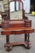 Victorian mahogany mirror backed dressing table. 178cm H x 121cm W x 56cm D