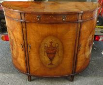 Early/mid 20th century walnut veneered half moon side cabinet, inlaid in the French manner with