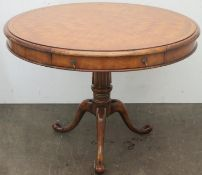 Early/mid 20th century walnut two drawer drum table, with geometric inlay throughout, on tripod