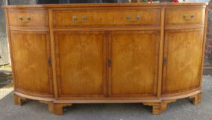 20th century breakfront inlaid sideboard. Approx. 87cm H x 167.5cm W x 42cm D