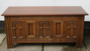 20th century carved fronted oak blanket chest. Approx. 52cm H x 140cm W x 44cm D