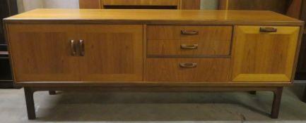 Mid 20th century teak long John sideboard. Approx. 80cms H x 206cms W x 46cms D