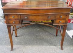 Late 19th/Early 20th century mahogany fold out writing desk, fitted with five drawers, on