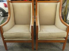 Pair of 20th century upholstered highback armchairs. Approx. 112cm H x 69cm W x 75cm D