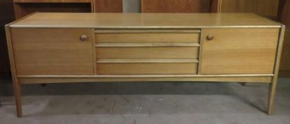 Younger, mid 20th century teak long John sideboard. Approx. 74cms H x 198cms W x 45cms D