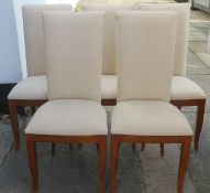Set of five upholstered dining chairs. Approx. 105cm H x 46cm W