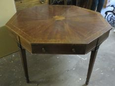 19th century mahogany inlaid octagonal table, fitted with two drawers. Approx. 76cms H x 114.5cms D