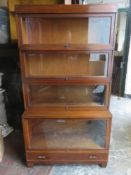 Globe - Wernicke, late 19th/early 20th century glazed four section stacking bookcase, with signle