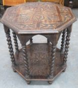 Late 19th/early 20th century barley twist oak octagonal occasional table, with carved decoration