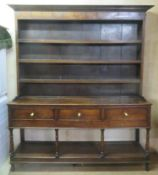 19th oak three drawer welsh style kitchen dresser, with plate rack and pot board. Approx. 222cm H