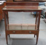 19th century inlaid mahogany two tier serving buffet, fitted with single drawer to front