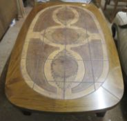 """20th century Rosewood coffee table with decorative tiled inserts, stamped """"Made in Denmark"""". Approx."""