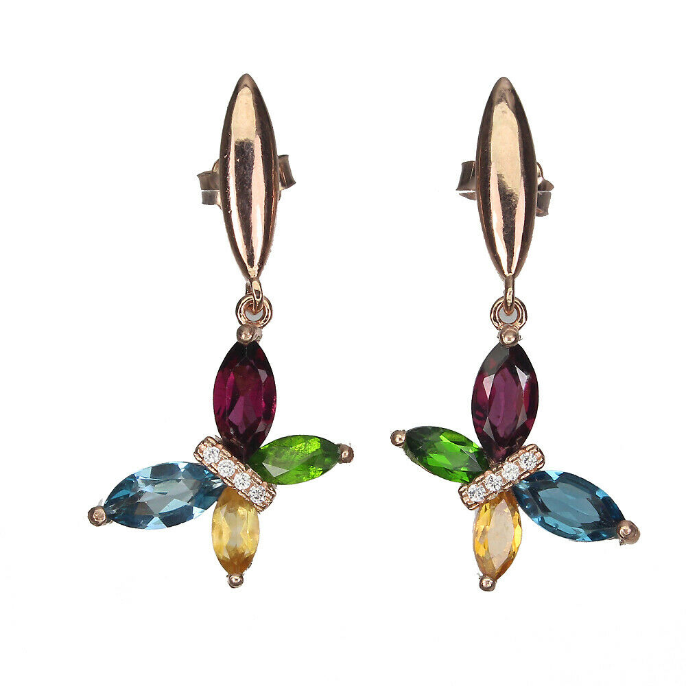 Lot 31 - A pair of 925 silver rose gold gilt butterfly shaped drop earrings, set with London blue topaz,