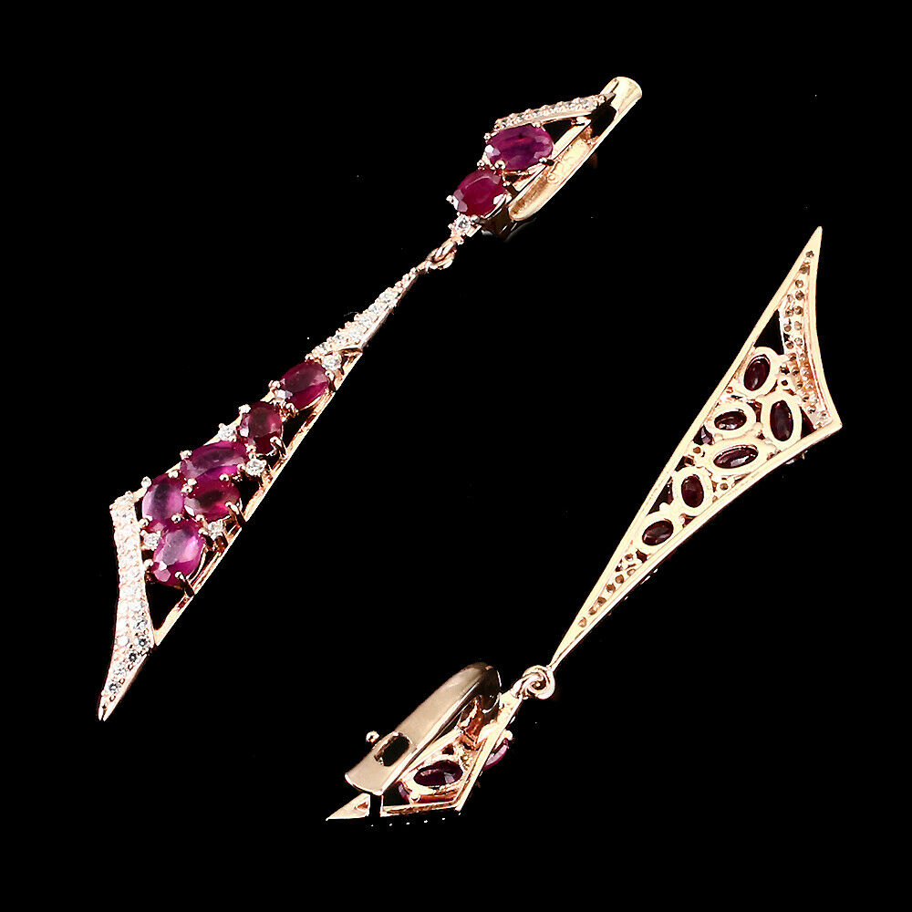 A pair of 925 silver rose gold gilt drop earrings set with oval cut rubies and white stones, L. - Image 2 of 2