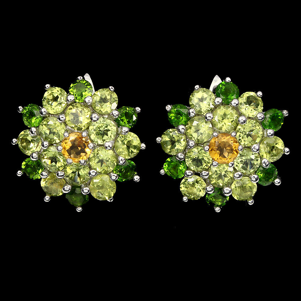 Lot 20 - A pair of 925 silver earrings set with peridot, chrome diopside and citrines, Dia. 2cm.