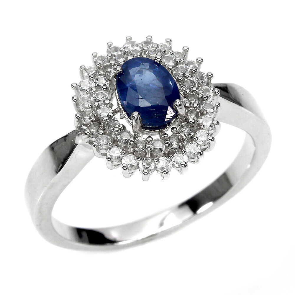 Lot 40 - A 925 silver sapphire and white stone set cluster ring, (P.5).