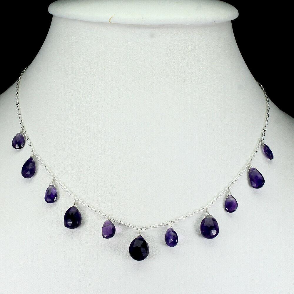 Lot 50 - A 925 silver necklace set with briolette cut amethysts, L. 42cm.