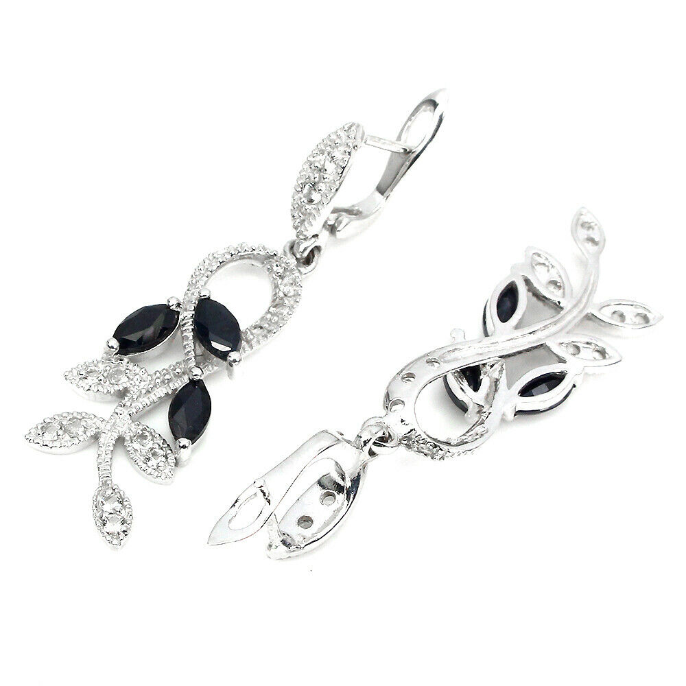 Lot 52 - A pair of 925 silver drop earrings set with marquise cut sapphires and white stones, L. 4cm.