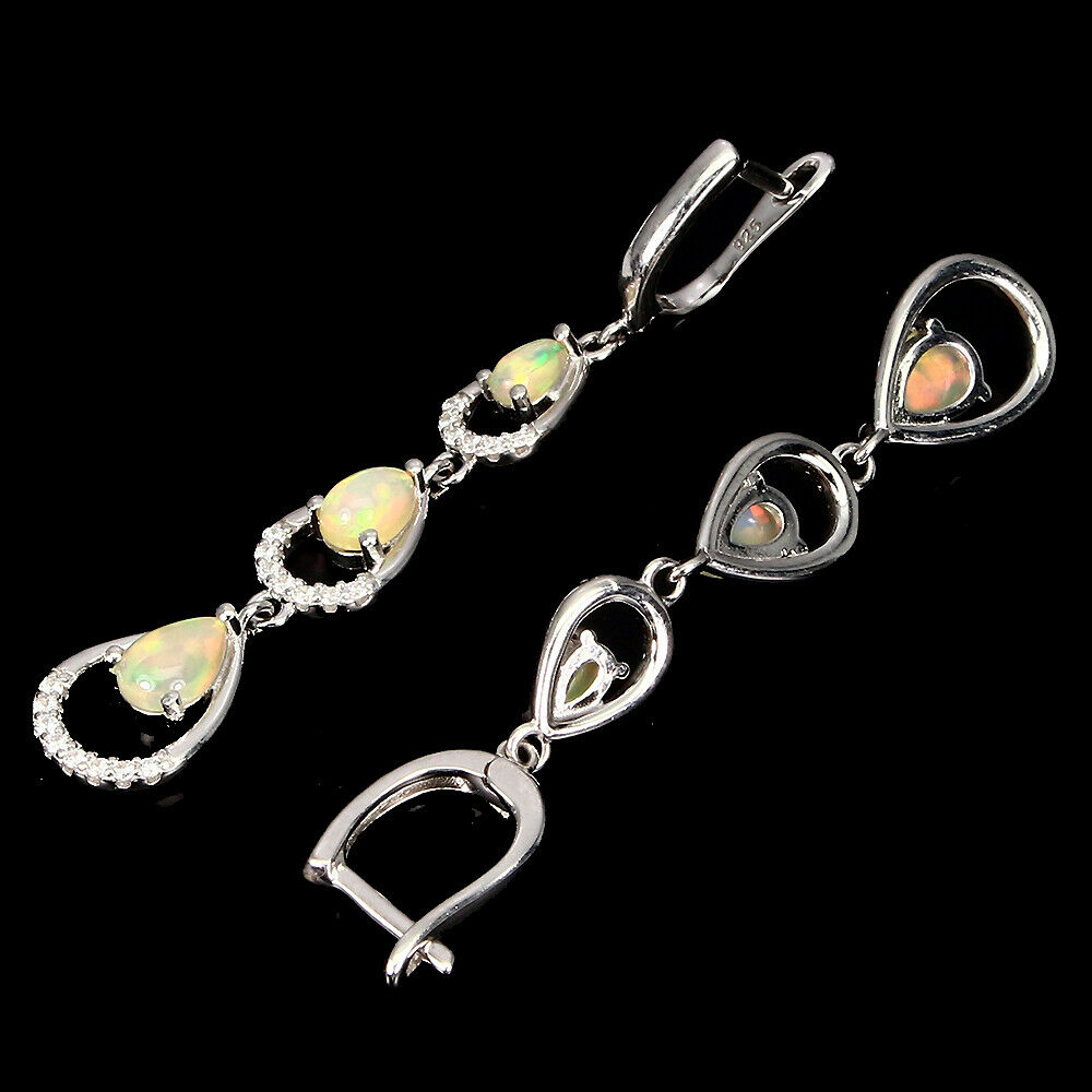 A pair of 925 silver drop earrings set with cabochon cut opals and white stones, L. 5.5cm. - Image 2 of 2