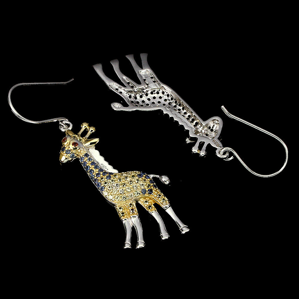 Lot 48 - A pair of 925 silver giraffe shaped drop earrings set with sapphires and fancy yellow sapphires,