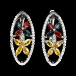 A pair of 925 silver earrings set with sapphires and fancy sapphires, L. 2cm.