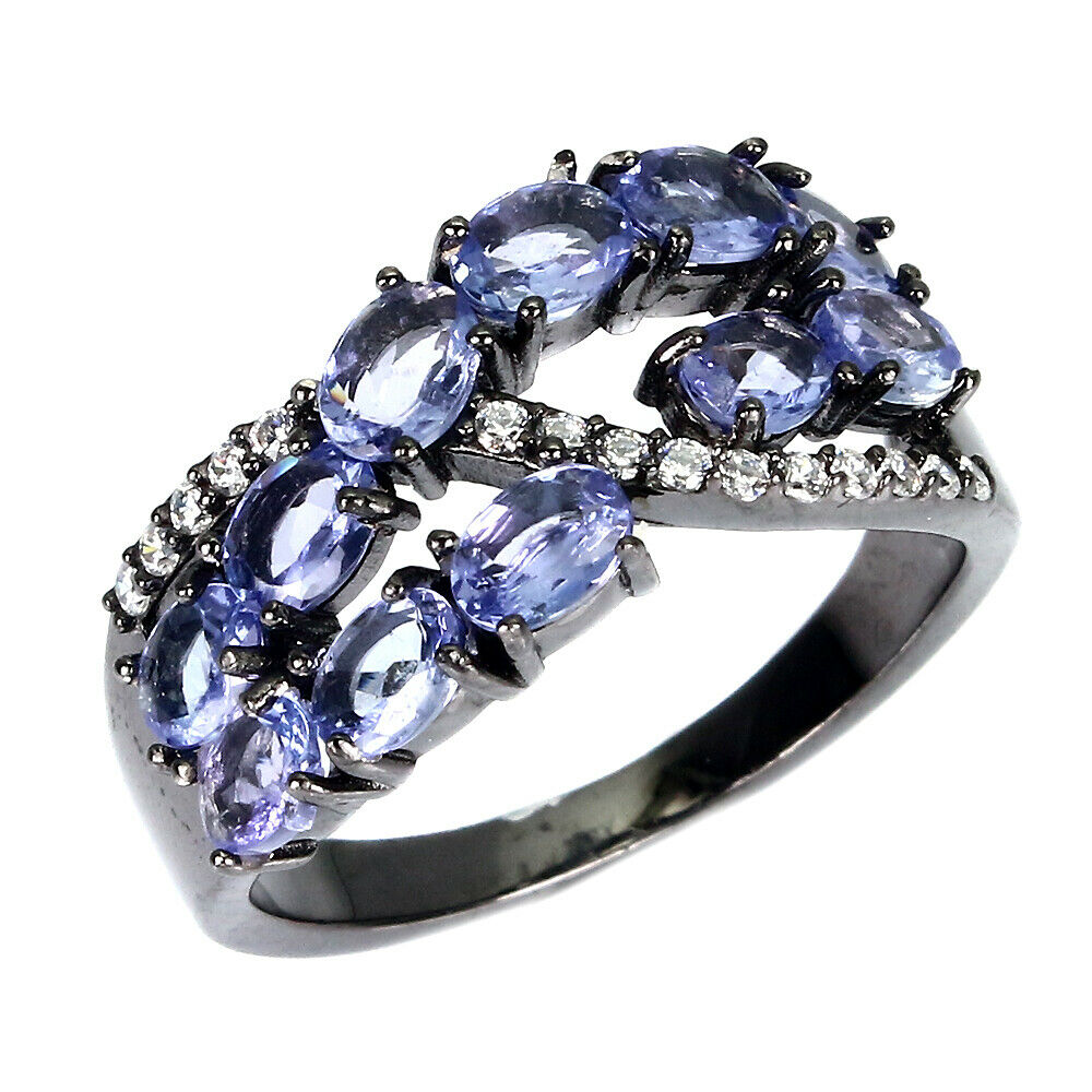 A 925 silver tanzanite and white stone set ring, (N.5). - Image 2 of 2