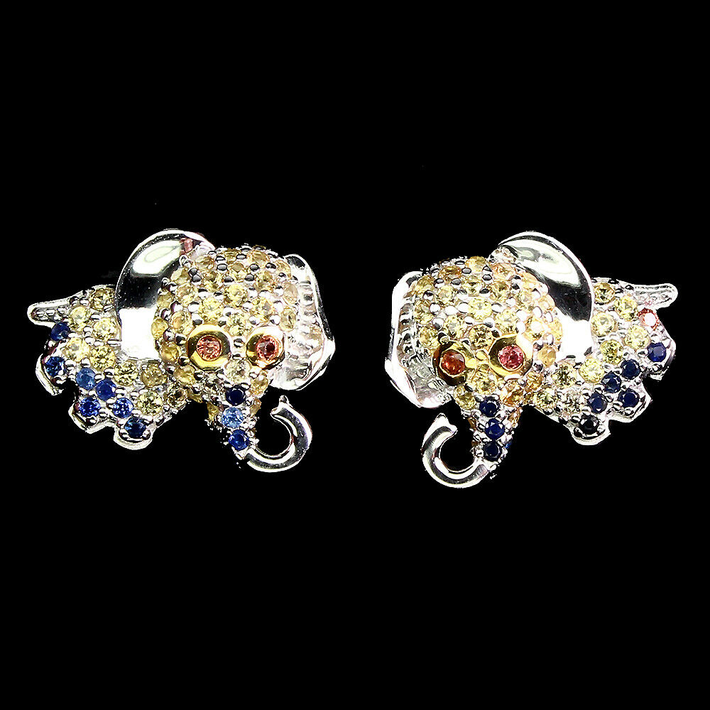 Lot 17 - A pair of 925 silver elephant shaped stud earrings set with fancy colour sapphires, L. 1.5cm.